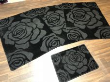 ROMANY WASHABLES NEW SETS OF 4 MATS XXLARGE SIZE 100X140CM BLACK ROSES NON SLIP